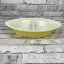 Glasbake J-239 Split Divided Baking Serving Dish Casserole Yellow & White  - $8.46