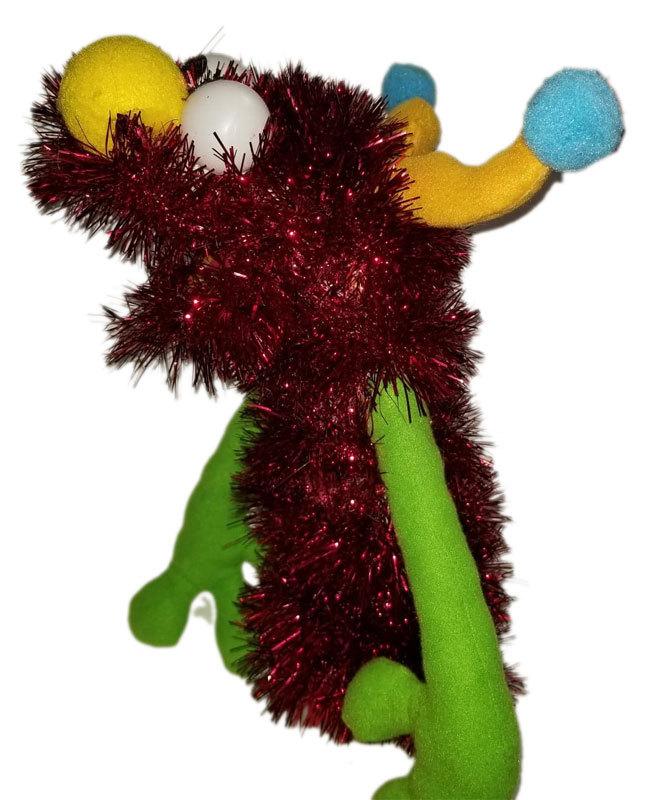 """C6 * Deluxe Custom """"Sparkly Red Monster w/Horns""""  Sock Puppet * Custom Made"""
