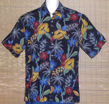 Campia Moda Hawaiian Shirt Black Blue Red Gold Floral Size Medium - $19.79