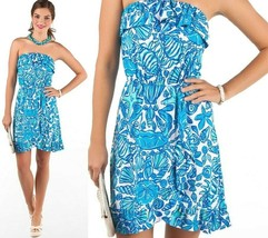 Lilly Pulitzer Flor Shorely Blue Sailors Valentine Ruffle Strapless Dres... - $99.00