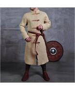 Medieval Tawny Turtleneck Long Sleeve Padded Canvas Gambeson Tunic Battl... - $172.95