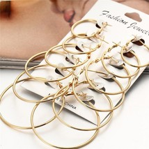 2020 New 6 Pairs/set Vintage Rose Gold Multiple Dangle Big Circle Hoop E... - $3.14+