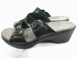 Dansko Double Strap Sandals Sofie Iridescent Black Clog Slides EU 41 US 10.5-11 - $28.01