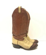 TONY LAMA BROWN/CREAM 6214 LEATHER WESTERN COWBOY BOOTS SIZE 4.5 D - $31.25