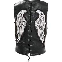 Ladies Leather Angel Wing Vest with Laced Back - 3X - $63.99