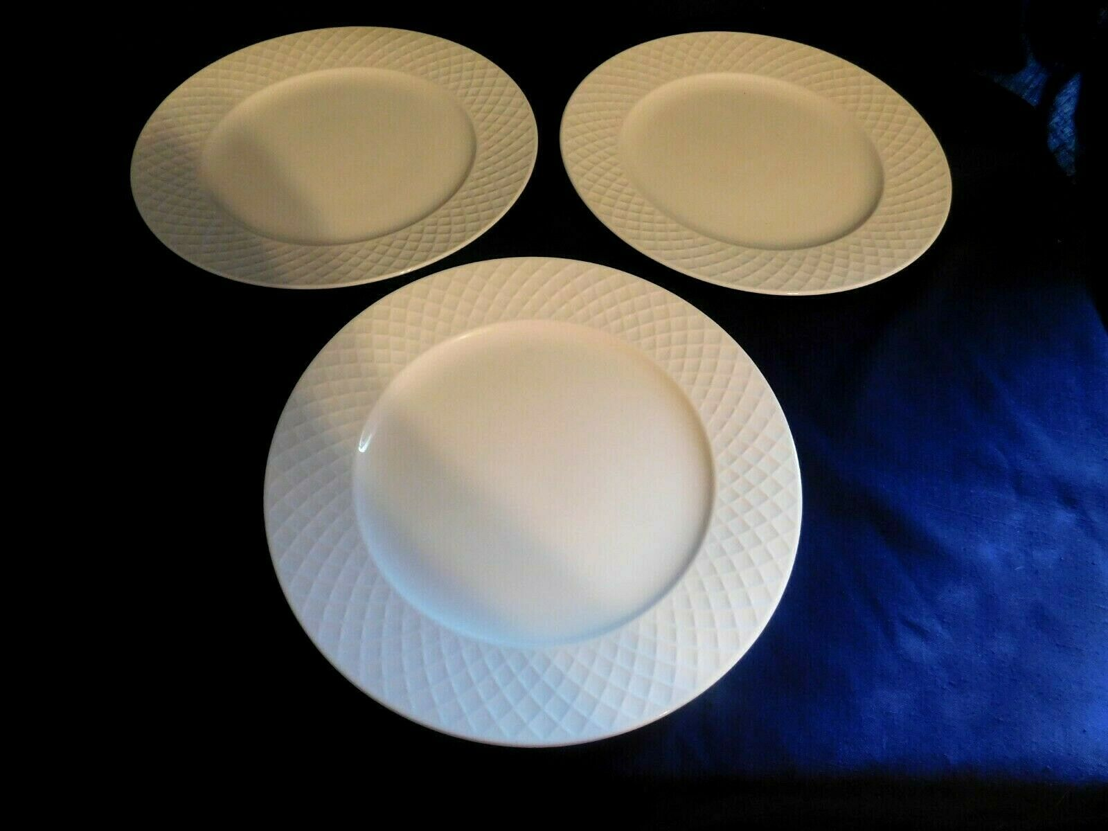 Primary image for K - Mikasa Bone China White Trellis Dinner Plates Lot of 3 - Clean Elegant Class
