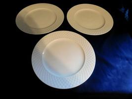 K - Mikasa Bone China White Trellis Dinner Plates Lot of 3 - Clean Elega... - $17.49