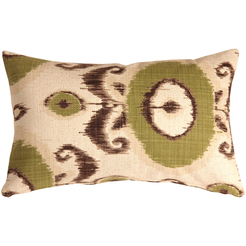 Pillow Decor - Bold Green Ikat 12x20 Throw Pillow