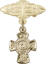 14K Gold Baby Badge with 5-Way Charm and Badge Pin with Cross 1 X 3/4 inch - $419.50