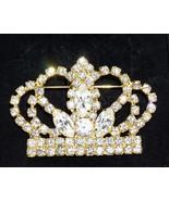 Vintage Unsigned Large Prong Set Rhinestone Crown Goldtone Brooch  - $38.30