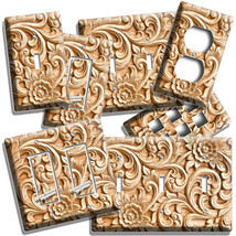 CREATIVE FLOWERS OAK WOOD CARVING LOOK LIGHT SWITCH WALL PLATE OUTLET RO... - $10.99+