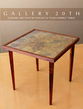 SUBLIME! MID CENTURY MODERN WALNUT CLUB TABLE! GOLD MARBLE ATOMIC 50'S E... - €834,10 EUR