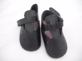BLACK ROUND TOED PUNCH HOLE SHOE WITH BUCKLE FASTENING IN 3 SIZES - $12.04+