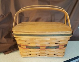 Longaberger 1993 Hostess GREEN HOMECOMING BASKET 12092 Wood Lid & Protector - $49.95
