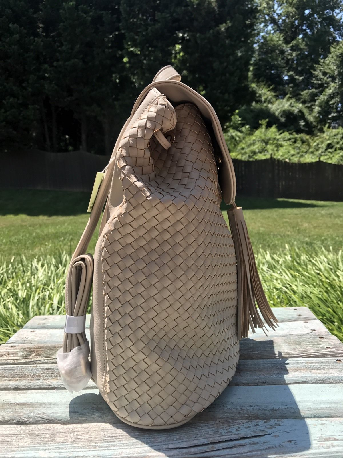 Deux Lux Luxury Bowery Backpack Camel/Off-White/Cream $130 NEW with tags NWT image 3