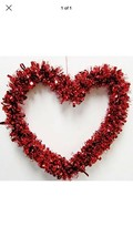 "Large 14"" Valentine's Day Red Heart Shape Tinsel Garland Wreath Door Han... - $7.99"