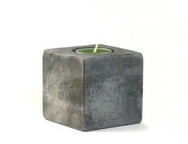 No.13 Cube Concrete Tea Light Candle Holder Handmade Home & Decor Accents - $24.95
