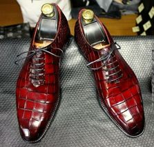 Handmade Men's Burgundy Crocodile Texture Dress/Formal Oxford Leather Shoes image 3
