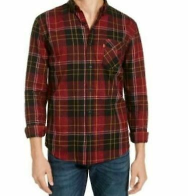 Levi's Men's Collared Long Sleeve Booth Regular-Fit Plaid Flannel Shirt Large