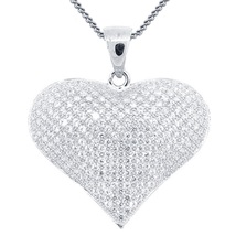 Heart Shape Fancy Pendant With Chain 14k White Gold Over 925 Silver Round Cut CZ - $79.14
