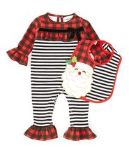 Rare Editions Baby Girl 2-Piece Set Christmas Coverall and Bib Size 3-6 ... - $26.95