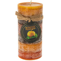"Harvest Pumpkin layered 6"" pillar candle - $8.00"