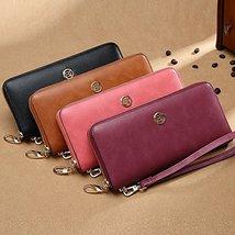 LAORENTOU Women's Genuine Leather Long Wallet Clutch Purse for Women Black image 6