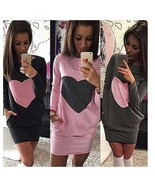 Fall and Winter Women Bodycon Dress Sexy Package Hip Dress Lady O-neck P... - $38.00+