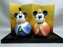 Disney Seto Novelty Antique Mickey & Minnie Mouse Pottery Lean Hina figu... - $88.11