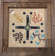 "Large Navajo Vintage Wood Framed Art Clock Sand Painting by J. Begay ""4 ... - $128.69"