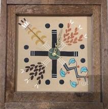 "Large Navajo Vintage Wood Framed Art Clock Sand Painting by J. Begay ""4 ... - $129.68"