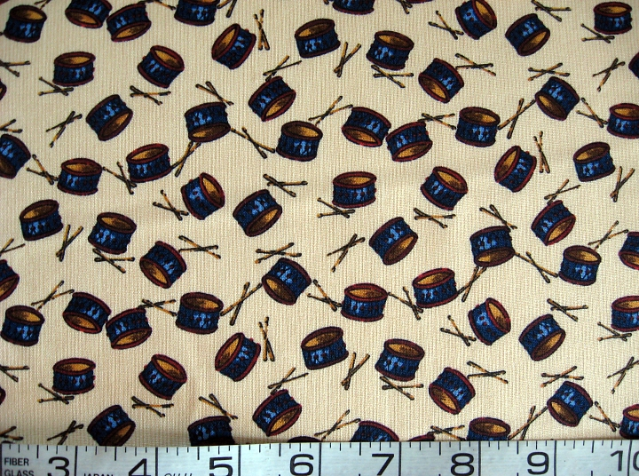 Primary image for 1/2 yd music/drums/Americana on tan quilt fabric -free shipping
