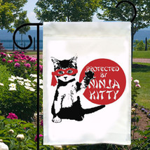 Protected By Ninja Kitty New Small Garden Flag, Cats, Fun For Home, Business, Bo - $12.99