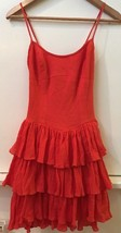 New BETSEY JOHNSON Red Spaghetti Strap Crinkle Tiered Skirt Dress Size 0... - $29.95
