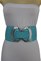New Women Silver Metal Bling Buckle Fashion Baby Blue Belt Hip High Waist S M - $16.65