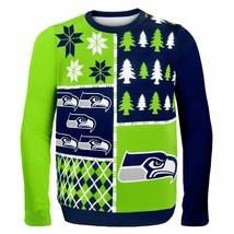 NFL Seattle Seahawks Busy Block Ugly Sweater, Medium, Green   - $37.95