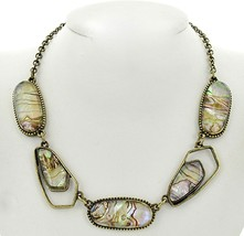Womens Ladies Beach Antique Goldtone Abalone Shell Warm Abstract Necklace - $12.02