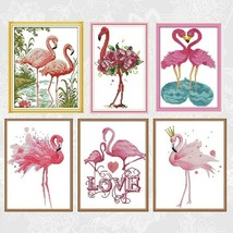 Colorful Flamingos Cross Stitch Kits Printed Canvas DIY Handmade Embroid... - $10.24+