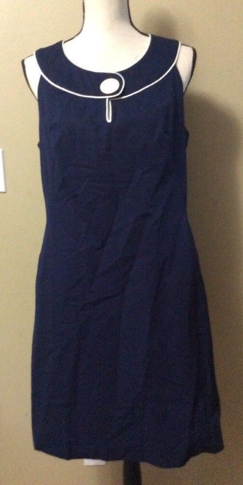 CAROLE LITTLE Navy Blue Nautical Retro Sleeveless Career Dress sz 10 NWT