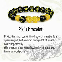 1 x Black Obsidian Feng Shui Pi Xiu Bracelet Beads Attract Good Luck Wealth  image 3