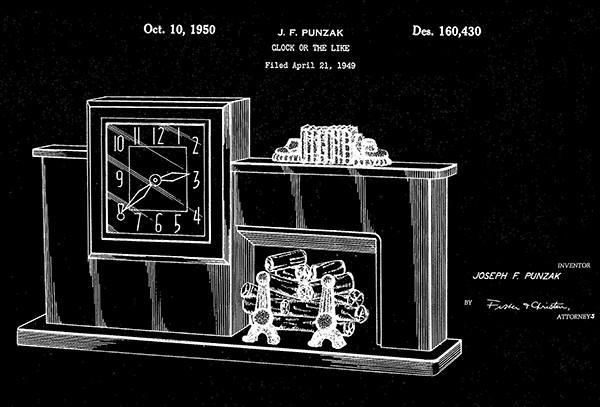 Primary image for 1950 - Clock - J. F. Punzak - Patent Art Poster