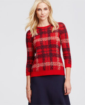 Ann Taylor Plaid Jacquard Sweater, 3/4 Sleeves, Wool Blend, Red, Size M,... - €29,03 EUR