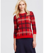 Ann Taylor Plaid Jacquard Sweater, 3/4 Sleeves, Wool Blend, Red, Size M,... - $34.62
