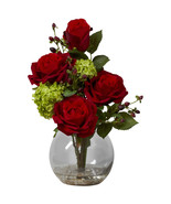 Rose & Hydrangea Silk Flower Arrangement - $60.13