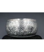 Vintage Ethnic Raised Relief Silver Toned Jappanned Bangle Cuff Bracelet - $19.79