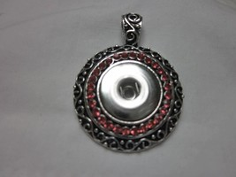 Bogo Pink Rhinestone Circle 18-20MM Button Snap Pendant For Ginger Snaps - $7.99