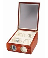 Diplomat  Burlwood Quad Watch Winder Box with Cream Leather Interior 4 - $369.95