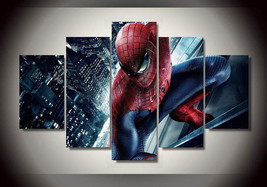 Large Framed Spiderman Canvas Print Home Decor Wall Art Poster Five Piece - $129.98