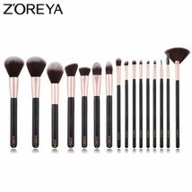 Zoreya® 16pcs/set Black Cruelty Free Makeup Brush Set Synthetic Blush Lip - €29,25 EUR