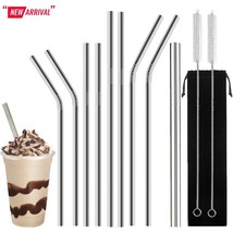 12 PIECES - 8 Stainless Steel Metal Straws Reusable,1 Smoothie Straw wit... - $11.99